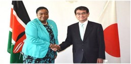 Japan joins Kenya as a co-host of the Blue Economy Conference. Kenya's Foreign Affairs Cabinet Secretary Monica Juma (left) met the Japanese Foreign Minister Taro Kono on October 6, 2018 in Tokyo. Credit: The Nation