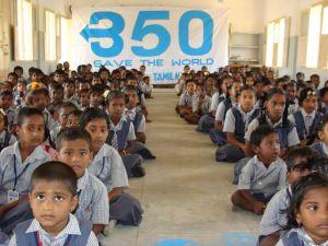 Schoolchildren in Vilandai, India attend a climate change workshop. Credit: Courtesy of 350.org