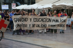 """Indignados"" in Málaga protest cuts in health and education.  Credit: Inés Benítez/IPS"