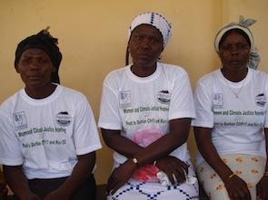 Mercy Hlordz (l), Akos Matsiador (centre) and Mary Azametsi (r) are all victims of climate change.  Credit: Jamila Akweley Okertchiri/IPS