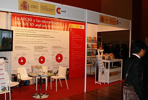 Stalls await business at the Valladolid microcredit summit.  Credit: Raquel Martinez/IPS
