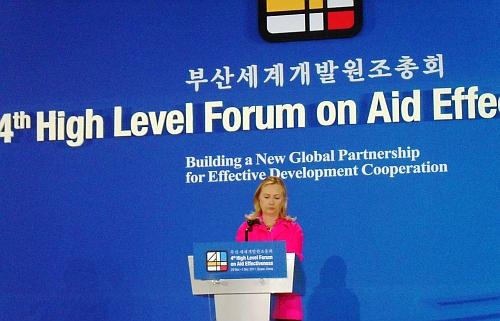 Hillary Clinton at Busan Credit: Miriam Gathigah/IPS