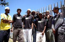 Volunteers for the Sonke Gender Justice Network door-to-door medical male circumcision campaign.  Credit: Lee Middleton/IPS