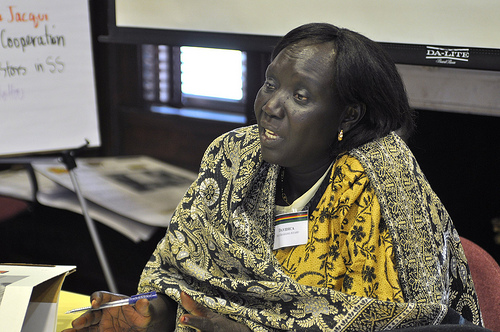 Davidica Ikai Grasiano Ayahu of the ITWAK Organisation addresses a working group on the specific medical needs of women in South Sudan. Credit: Shereen Hall, courtesy of the Institute for Inclusive Security