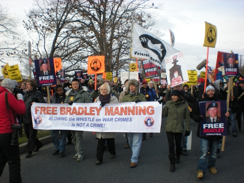 Protestors rallied outside a US military base to support Bradley Manning, the Army intelligence analyst who gave classified information to Wikileaks. Credit: Charles Davis/ IPS