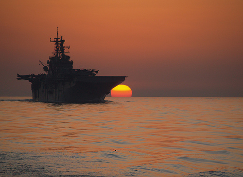 The amphibious assault ship USS Bataan transits the Strait of Hormuz in October 2011.  Credit: U.S. Navy photo