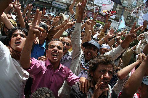 Young protesters in Yemen. Credit: Yazeed Kamaldien/IPS