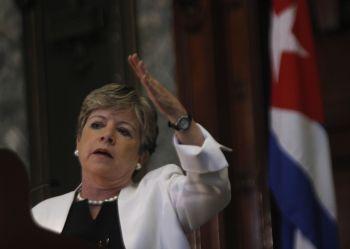 Alicia Bárcena speaking at the University of Havana. Credit: Jorge Luis Baños