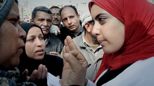 """Heba Afify, a budding young Egyptian journalist, took to the streets during the Cairo uprising to bear witness to the revolution. Credit: Film still from Mai Iskander's """"Words of Witness"""""""