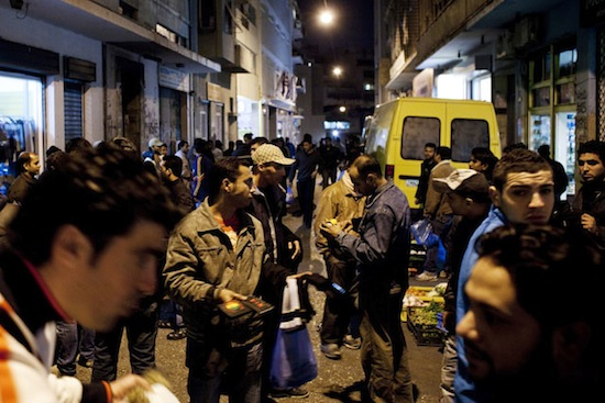 Parts of central Athens are morphing into immigrant quarters, where hundreds of thousands of immigrants live on paltry wages. Credit:  NIKOS PILOS