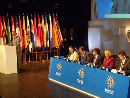 Speakers at the plenary session of IDB Governors Meeting.  Credit: Raúl Pierri/IPS