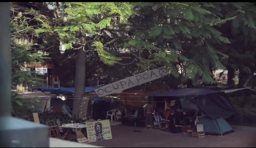 The Occupy Porto Alegre camp in the central square of the city.