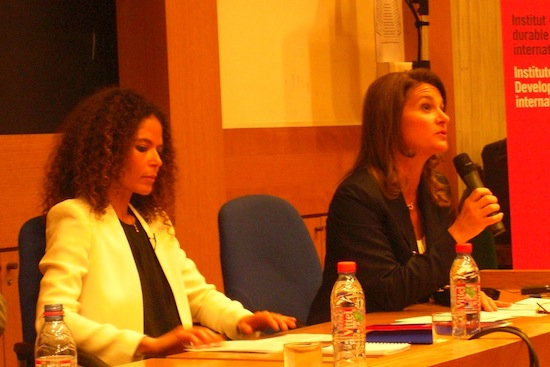 Melinda Gates (right), co-chair of the Bill and Melinda Gates Foundation, pressed for gender-sensitive development aid at a conference on Apr. 4 Credit:  A. D. McKenzie/IPS