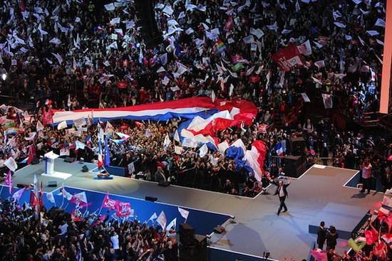 François Hollande at a massive rally just prior to his election victory on May 6, 2012. Credit: Ps-soisy/CC-BY-ND-2.0