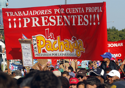 Self-employed workers marked a new presence in the May Day celebration this year.  Credit: Jorge Luis Baños/IPS