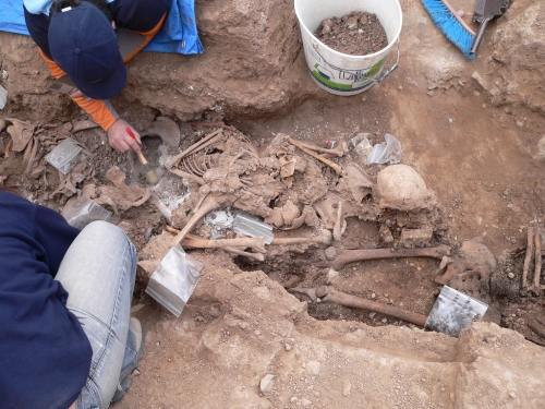 Remains of Franco-era victims unearthed in Zaragoza, Spain. Credit: Association for the Recovery of the Historical Memory