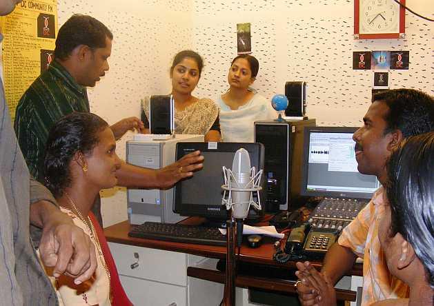 A broadcast session at Radio DC, Thiruvananthapuram. Credit: K.S. Harikrishnan/IPS