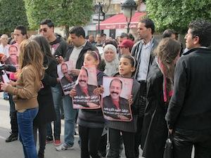 A demonstration in honour of slain opposition leader Chokri Belaid in Burghiba Avenue in Tunis. Credit: Giuliana Sgrena/IPS