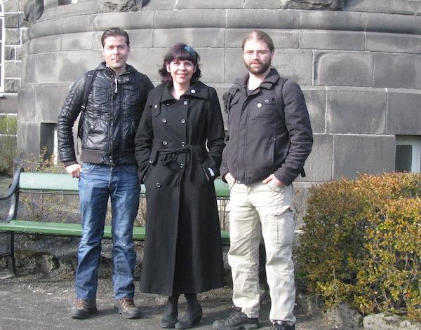 Three members of Iceland's Pirate Party, Jon Thor Olafsson, Birgitta Jonsdottir and Helgi Hrafn Gunnarsson, in front of the Althingi parliament building. Credit: Lowana Veal/IPS.