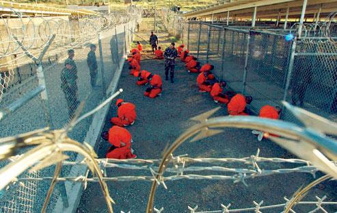 Guantanamo captives in January 2002. Credit: US Navy/public domain