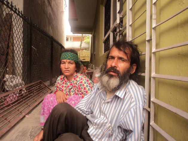 Nanda Prasad Adhikari and his wife Ganga Maya on their fast in front of the prime minister's residence in Kathmandu. Credit: Bimal Chandra Sharma/IPS
