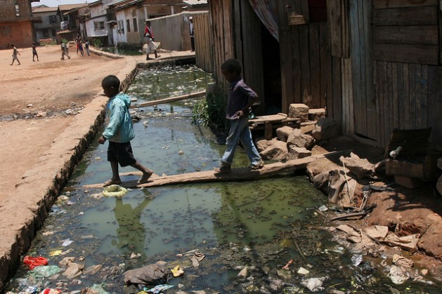 An open drainage ditch in Ankorondrano-Andranomahery. Madagascar receives just 0.5 dollars per person per year for WASH programmes . Credit: Lova Rabary-Rakontondravony/IPS