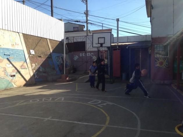 The playground of the San Judas Tadeo primary school on the San Juan de Dios hill in Valparaíso, Chile. Credit: Diana Cariboni/IPS