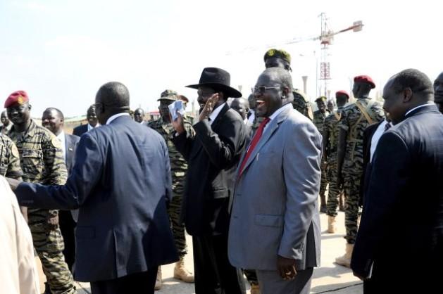 South Sudan's president Salva Kiir Mayardit (in black hat), and former vice-president Riek Machar (right), before the conflict began. Credit: UN Photo/Tim McKulka