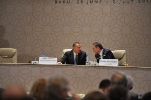 Azerbaijani President Ilham Aliyev chats with OSCE PA President Ranko Krivokapic, Jun. 28, 2014, in Baku. Credit: OSCE Parliamentary Assembly/CC-BY-2.0