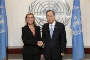 Italian Foreign Minister Federica Mogherini with UN Secretary-General Ban Ki-moon. Credit: UN Photo/Evan Schneider