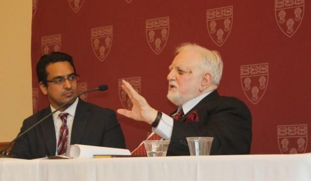 Mujeeb-ur-Rahman (right) speaks at Harvard University. Credit: Beena Sarwar