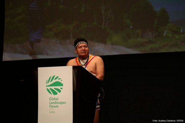 Cándido Menzúa Salazar, national coordinator of the indigenous peoples of Panama, addressed the audience at the Global Landscapes Forum, the largest side event at COP 20 in Lima, on how climate change altered his agroforestry practices. Credit: Audry Córdova/COP20 Lima
