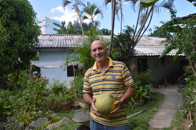 Fidel Pérez, who practices permaculture, grows giant oranges from China in his yard in Santiago de Cuba. Credit: Courtesy Randy Rodríguez Pagés/SEMlac