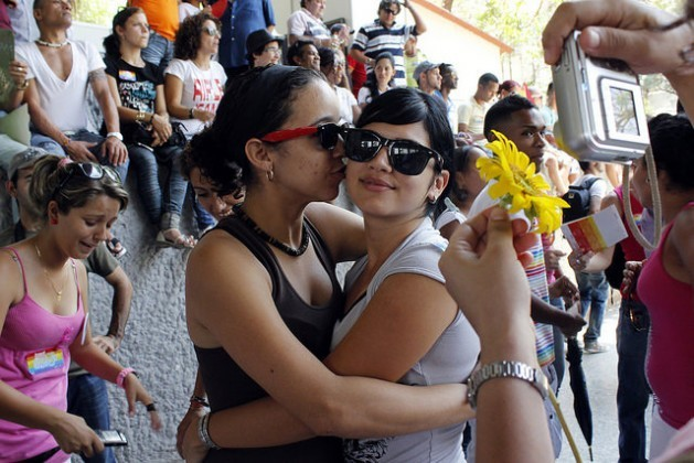Two women hugging at a Day Against Homophobia in Havana organised by the lesbian, gay, bisexual and transsexual (LGBT) community. Credit: Jorge Luis Baños/IPS