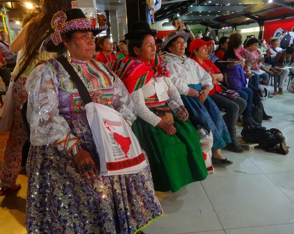 A group of indigenous women participating in one of the debates at the Fifth Continent-wide Assembly of Rural Women during the sixth congress of the Latin American Coordinating Committee of Rural Organisations-Via Campesina, held in Ezeiza in Greater Buenos Aires. Credit: Fabiana Frayssinet/IPS