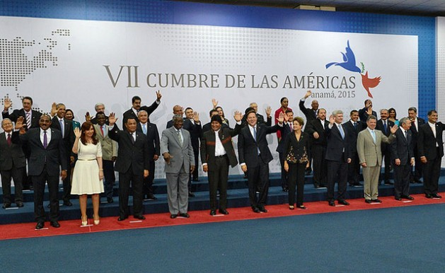 Group photo at the Seventh Summit of the Americas, taken Apr. 11 in Panama City, the second day of the two-day gathering, which for the first time brought together all 35 countries in the hemisphere. Credit: Seventh Summit of the Americas