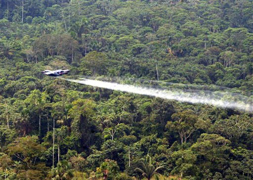 Glyphosate spraying of illegal drug crops has caused environmental damage in Colombia's rainforest. Credit: Public domain