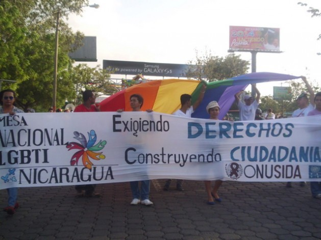 One of the many protests held in 2014 by sexual diversity activists and organisations demanding recognition of the right of lesbians, gays, bisexuals and trans persons to marry and adopt, which was not included in the new Family Code. Credit: Courtesy of the Sustainable Development Network of Nicaragua