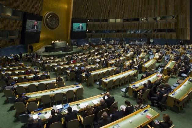 A view of the General Assembly Hall as Deputy Secretary-General Jan Eliasson (shown on screens) addresses the opening of the 2015 Review Conference of the Parties to the Treaty on the Non-Proliferation of Nuclear Weapons (NPT). The Review Conference is taking place at U.N. headquarters from Apr. 27 to May 22, 2015. Credit: UN Photo/Loey Felipe