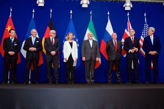 Representatives from Iran and the P5+1 pose for photos after talks concluded in Lausanne, Switzerland on April 2, 2015. Credit: US State Dept/public domain