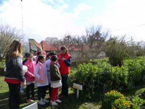 Rita Darrechon, the principal at the La Divina Pastora rural school, talks to a group of schoolchildren about the garden where they are growing food for their school meals. Credit: Fundación General Alvarado