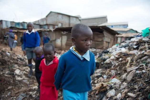 Children on their way to school in Kibera, the largest slum in Nairobi. Credit: Save the Children