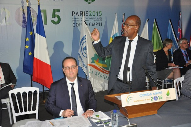 French President François Hollande and President of the Regional Council of Martinique, Serge Letchimy. Credit: Desmond Brown/IPS