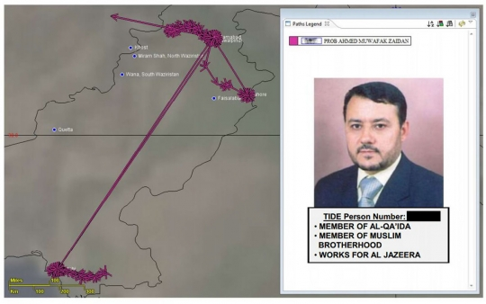 """A slide dated June 2012 from a National Security Agency PowerPoint presentation bears Ahmad Muaffaq Zaidan's photo, name, and a terror watch list identification number, and labels him a """"member of Al-Qa'ida"""" as well as the Muslim Brotherhood. It also notes that he """"works for Al Jazeera."""" Courtesy of the Intercept"""