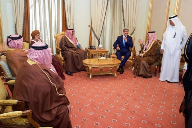 U.S. Secretary of State John Kerry chats with Foreign Minister Saud al-Faisal of Saudi Arabia on Mar. 5, 2015, in Riyadh, Saudi Arabia, before the two and their counterparts attended a meeting of the regional Gulf Cooperation Council. Credit: U.S. State Department/public domain