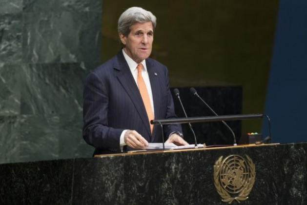United States Secretary of State John Kerry addresses the 2015 Review Conference of the Parties to the Treaty on the Non-Proliferation of Nuclear Weapons (NPT) on April 27. The United States, along with the UK, and Canada, rejected the draft agreement. Credit: UN Photo/Loey Felipe
