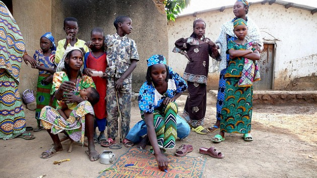 A displaced family in Bouar, Central African Republic. As of February 2014, the town and region around Bouar were experiencing ethnic cleansing, principally against Muslim civilians. Credit: Nicolas Rost for OCHA