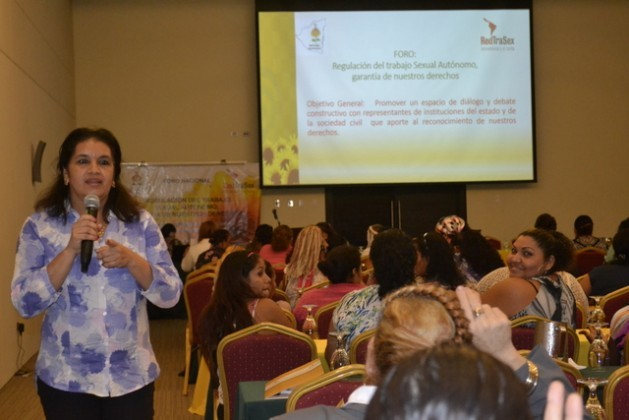 María Elena Dávila, national coordinator of the Nicaraguan Sex Workers Network, participating in a workshop on the Regulation of Sex Work in this Central American nation. Credit: Courtesy of RedTraSex