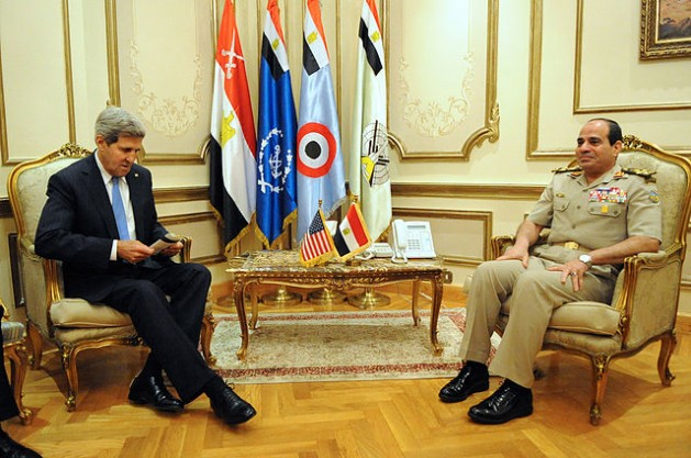 U.S. Secretary of State John Kerry meets then Egyptian Minister of Defence General Abdul Fatah Khalil al-Sisi in Cairo, Egypt, on November 3, 2013. Credit: U.S. Department of State