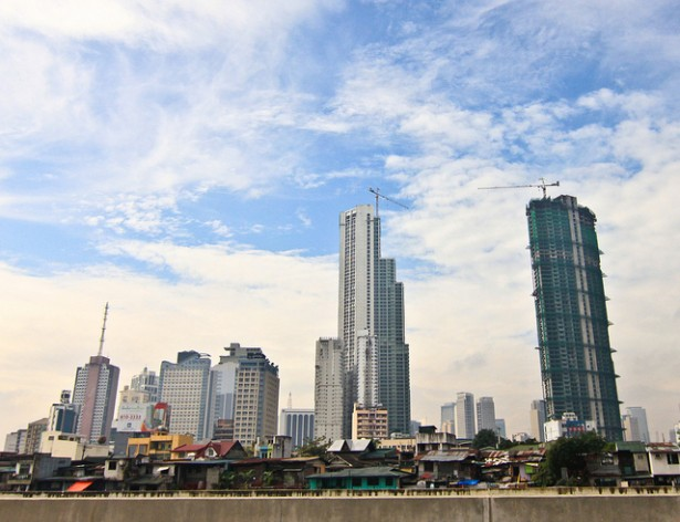 The sharp contrast between the poorer communities' shanties and the skyline of the Makati City financial district underscores the huge income gap between the haves and have-nots. The Philippines' income disparity is one of the biggest in South-east Asia. Credit: IPS
